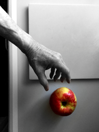 Apple & hand #1 bw:color copyright erie chapman 2016