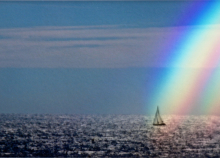 Rainbow sailboat