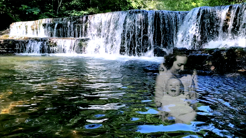 Waterfall with mom and baby